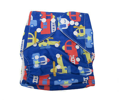MODERN CLOTH NAPPIES REUSABLE ADJUSTABLE DIAPERS Blue Police & Firetrucks SHELL