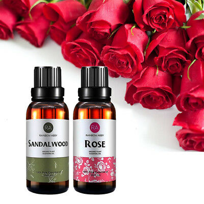 Pure Essential Oil Rose Oils Sandalwood For Aromatherapy Diffuser Burner 30Ml Us