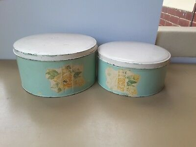 2  Painted Very Old Willow Biscuits  Cake Tins