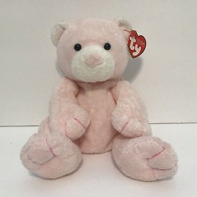 86d87bc4300 Ty Pluffies Pudder Pink Teddy Bear Plush Stuffed Animal 2003 Soft Beanie w   Tag