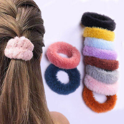 2X Women Faux Rabbit Fur Hair Band Fluffy Hair Rope Ponytail Holder Tie Elastic