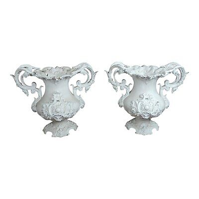 Fabulous Ornate Victorian Cast Iron Urns Planters -a Pair