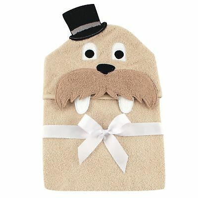 NEW Hudson Baby Animal Face Tan Hooded Towel Classy Walrus w/ Top Hat