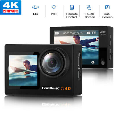 Campark Action Camera 4K 20MP Touch Screen Waterproof Dual Screen Remote Control