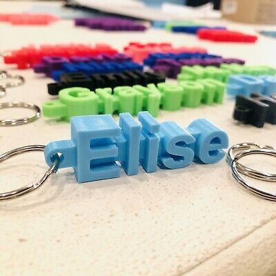 Keychain NAME, Personalized Custom 3D Print, Colors, Made To Order In USA!)