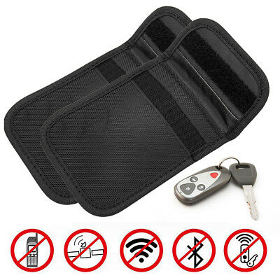 Pair Car Key Fob Signal Blocker Faraday Bag Keyless Entry Guard Protector Pouch