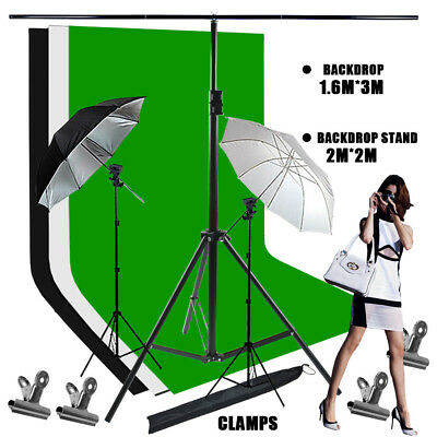 "3x Photo Backdrop Support  Black White Green Screen 33"" Umbrella Bracket B KIT"