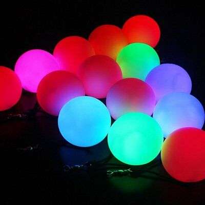 LED Multi-Coloured Glow POI Thrown Balls Light Up For Belly Dance Hand Prop LU