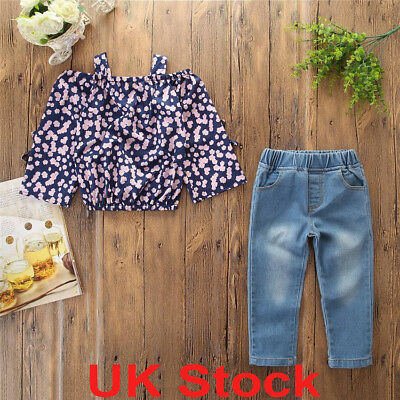 UK 2PCS Toddler Kids Girls Floral Ruffle Tops Denim Pants Fancy Outfits Clothes