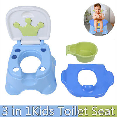Kids Baby 3 in 1 Toddler Toilet Trainer Potty Urinal Training Seat Chair Safety