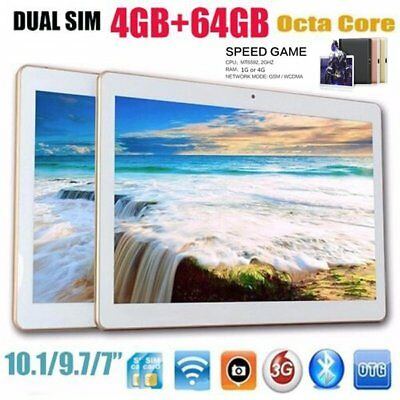 "10.1"" inch Tablet PC 4G+64G Android 6.0 Dual SIM Phone Wifi Phablet Lot EA"