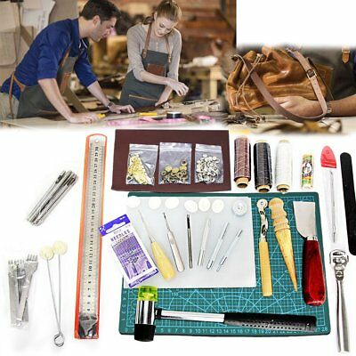 42Pcs Leather Knife Craft Tools Sewing Stitching Punch Carving Work Saddle Kit