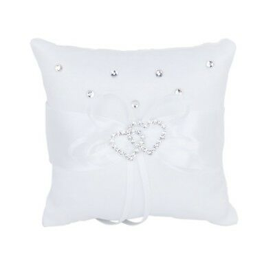 1X(White Double Heart Rhinestone Ring Pillow Wedding Ring Bearer Cushion 10A1R1)