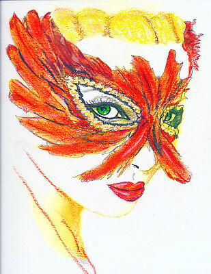 """Artist Signed and Limited, Numbered Print """"Mask-a-rade"""" 11x14"""