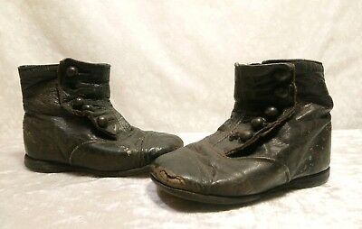 Victorian High Top Button Up Baby Shoes Antique Toddler Boots Black Leather