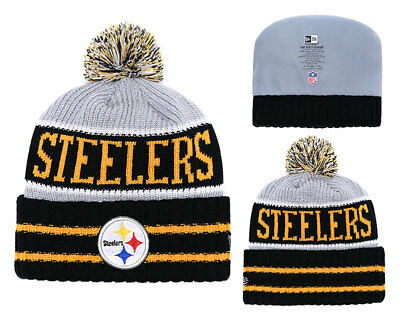 c85728d2c0a NFL PITTSBURGH STEELERS Cuffed Pom Hat Cap Toque Beanie Knit Lint Cap