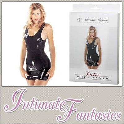 Black Latex Mini Dress Sharon Sloane Sexy Rubber Wet Look Size S M 8 10 12 14
