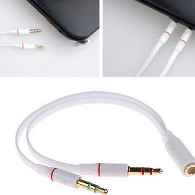 3.5mm Y Splitter 2 Jack Male to 1 Female Audio Headphone Mic Adapter Cable White