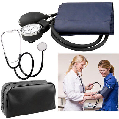 Blood Pressure Monitor Meter Sphygmomanometer Cuff Stethoscope Tester Device New