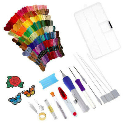 136in1 Embroidery Needle Pen Punch Magic Set DIY Tool Kit Knitting Craft Sewing^