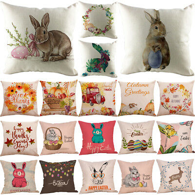 Cute Easter Festival Rabbit Pillow Case Cushion Cover Sofa Bed Home Decoration