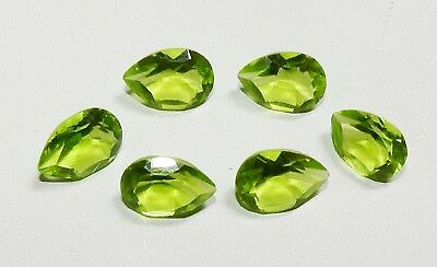 15.00 Ct. Man Made Glass Peridot Pear Faceted Cut 6 Pcs 12X8X5 Gemstone India