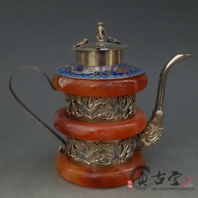 Collection Tibetan Silver Cloisonne Hand Carved Dragon Armor Jade Teapot.