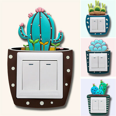 Cactus Plants Wall Decals 3D Switch Sticker Luminous Light Socket Cover