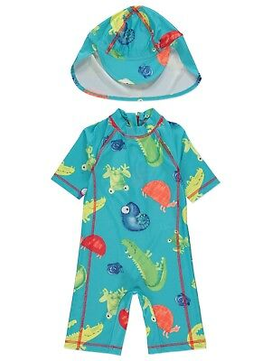 Boys Blue Animal Print Sun Protection Suit and Hat UV Sunsafe Surfsuit NEW BNWT