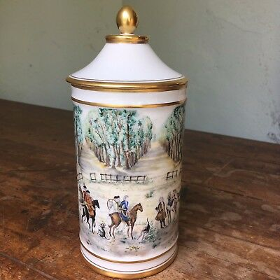 Hand painted Limoges porcelain pot for Dunhill, porcelain cigar box