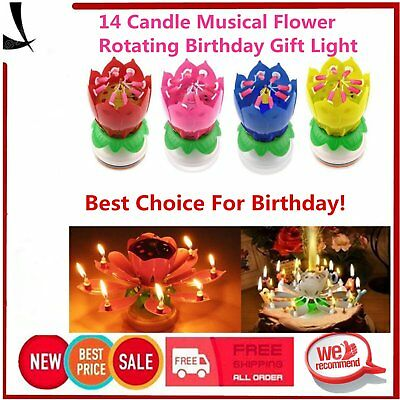 14 Candles Rotating Musical Lotus Flower Candle Birthday Cake Topper Gift Light