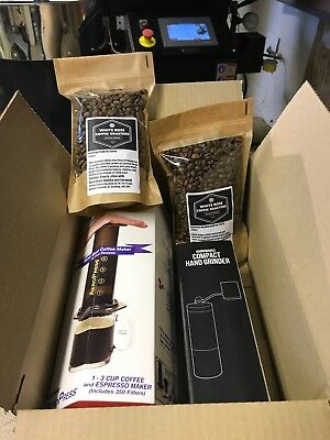 Aerobie Aeropress and RhinoWares Hand Grinder Gift Box with 400g Coffee Beans