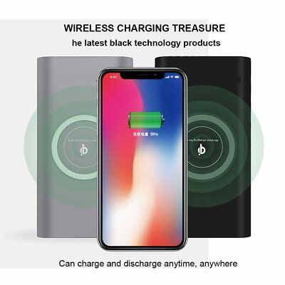 Qi Wireless Fast Charging Charger 10000mAh Power Bank Battery Fr iPhone X Lot EA