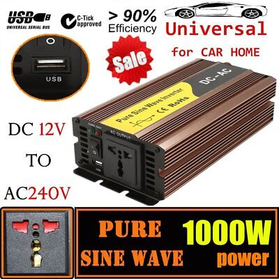 HOT Pure Sine Wave Power Inverter 1000W - 1500W DC12V to AC 240V USB Charger HX