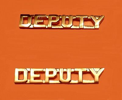 """Deputy Collar Pin Device Set Cut Out Letters Sheriff Dept 1/4"""" Gold 2218 New"""