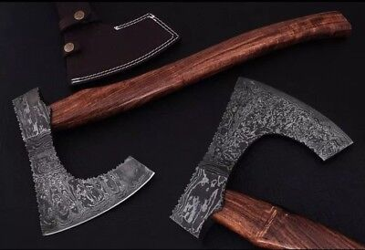 SOLD OUT MORE BEING MADE- Handmade Damascus Steel Viking Axe Wooden Ax