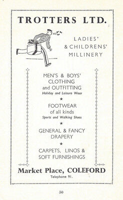 COLEFORD Gloucestershire Trotters Ltd Milliners Vintage Advertisement c1935