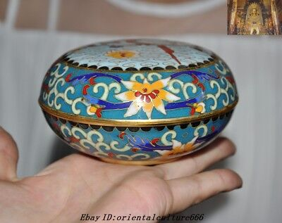 Old Chinese Dynasty Bronze Cloisonne Enamel Ancient Jewelry Box & Rouge boxes
