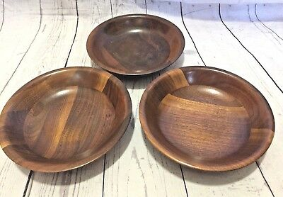 "Lot of 3 Vermillion Mid Century Salad Bowls Wooden Walnut 5 3/4"" Round Vintage"