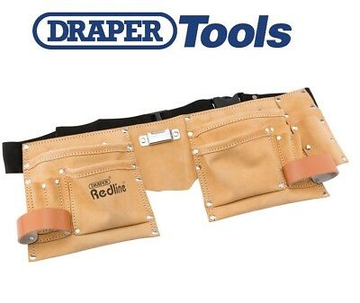 Draper Redline 10 Pocket Carpenters Builders Tool Nail Double Pouch Belt