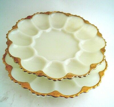 Vintage Pair of Oyster Plates Milk Glass with Gold Rim Anchor Hocking