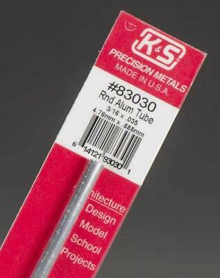 "K&S Metals ROUND ALUMINIUM TUBE 0.035"" WALL Imperial Range in 12"" lengths Precis"