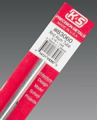 "K&S Metals ROUND ALUMINIUM TUBE 0.049"" WALL Imperial Range in 12"" lengths Precis"