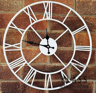 Skeleton Garden Indoor Wall Clock Roman Numeral Large Open Face Metal 40Cm Round