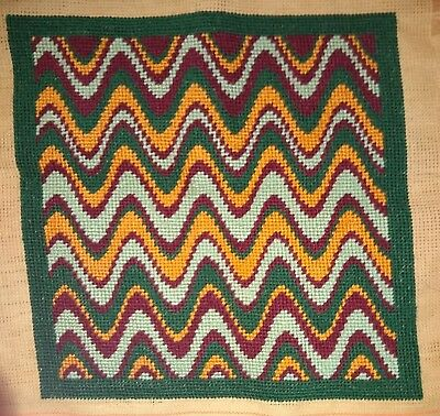Modern Tapestry: Unique Handmade 'Autumn Zig Zag' Sampler