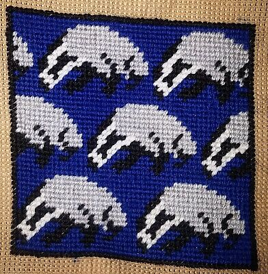 Modern Tapestry: Unique Handmade Mini 'Badger Crossing (Blue)' Sampler