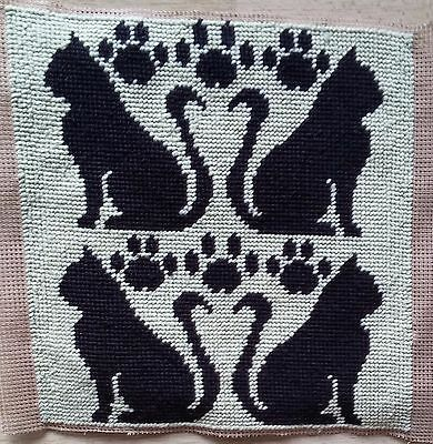 Modern Tapestry: Unique Handmade 'Cats' Sampler