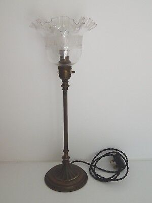 """Original Edwardian Brass Table Lamp with clear glass etched shade 18"""" tall"""