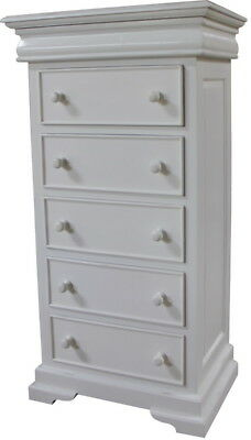 Antique White French Louis Philippe Sleigh 5 - 6 Drawer Chest of Drawers CHT076P