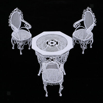 1/12 Miniature Dollhouse Iron Octagonal Table Chairs Patio Furniture Accs